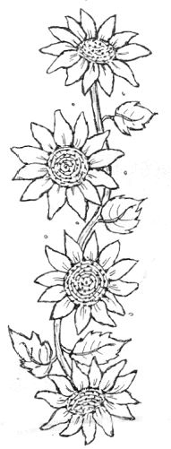 Embroidery sunflower sunflowers cross stitch 28 Ideas for 2019 Sunflower Quilts, Sunflower Pattern, Sunflower Stencil, Sunflower Template, Sunflower Drawing, Sunflower Design, Tole Painting, Fabric Painting, Colouring Pages