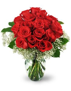 Express your adoration with this classic gesture of deep love and passion! Twenty-four of the finest red roses are sweetly embraced in a ring of pure white Baby's Breath and arranged beautifully in a clear glass vase. This generous and decadent bouquet really says it all!