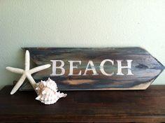 Rustic Beach Sign - Hand Painted, Weathered Sign, Ocean Decor, Beach House Decor, Rustic Decor, Primitive Home Decor.. $18.00, via Etsy.