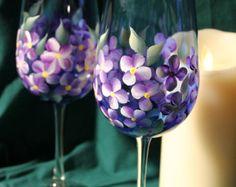 Lot de 2 peint verres à vin - violettes à la main