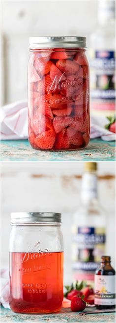 Homemade Strawberry Vodka with a delicious twist is so easy to make at home! Use it to make these Spiked Strawberry Shortcake Ice Cream Floats. Strawberry Shortcake Ice Cream, Strawberry Vodka, Strawberry Recipes, Fun Cocktails, Summer Drinks, Fun Drinks, Alcoholic Drinks, Beverages, Liquor Drinks