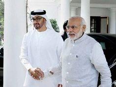 Prime Minister Narendra Modi welcomes Sheikh Mohammed bin Zayed Al Nahyan, Crown Prince of Abu Dhabi at 7 RCR, in New Delhi Rajput Jewellery, Sheikh Mohammed, Prime Minister, Chef Jackets, Hero, Indian, Game Changer, Abu Dhabi, Prince