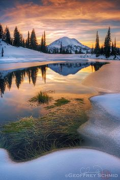 Tipsoo Lake by Geoffrey Schmid - Changing Seasons, Chinook Pass - One of my favorite locations just outside of Mount Rainier National Park captured in late fall condition. Pretty Pictures, Cool Photos, Beautiful World, Beautiful Places, Landscape Photography, Nature Photography, Photography Backgrounds, Hobby Photography, Newborn Photography