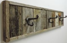 NEW FARM HOUSE RUSTIC RECLAIMED DISTRESSED BARNWOOD 3 HOOK BATH TOWEL RACK DECOR #Unbranded