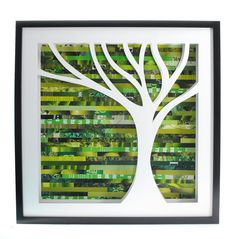 50% off SALE - tree shadowbox, on the right- made from recycled magazines, nature, wall art, unique