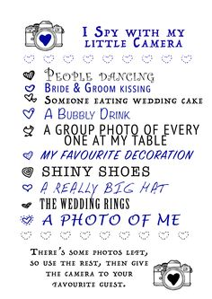 Wedding activity for kids- give each one a disposable camera and send them on a scavenger hunt More