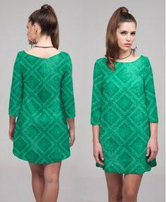 GEOMETRIC PRINT GREEN SIXTIES DRESS