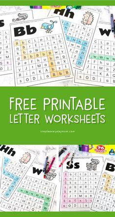 FREE Animal Alphabet Worksheets For Preschool & Kindergarten Homeschool Worksheets, Animal Worksheets, Preschool Curriculum, Free Preschool, Alphabet Worksheets, Preschool Kindergarten, Homeschooling, Alphabet Books, Alphabet Cards