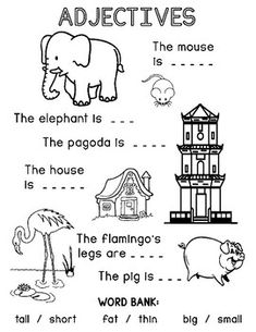 Adjectives Worksheet by Teacher Summer's Shop English Grammar For Kids, Learning English For Kids, English Worksheets For Kids, English Lessons For Kids, 1st Grade Worksheets, English Words, Preschool Worksheets, Adjectives For Kids, Adjectives Activities
