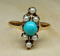 Vintage Antique Turquoise Seed Pearl 14k Rose Gold Alternative Unique Engagement Ring Victorian Art Deco Navette 1900 by DiamondAddiction on Etsy