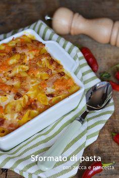 Sformato di pasta con zucca e pancetta