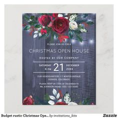 Budget rustic Christmas Open House invitation Christmas Open House, Rustic Christmas, Christmas Holidays, Open House Invitation, Invitation Kits, Dinner Party Invitations, Elegant Invitations, Unique Office Supplies, Budget Holiday