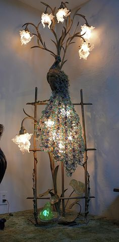 Peacock Lamp | it had been in the Vanderbilt house in New York, where they had three of them, and it was sold when the house was torn down.