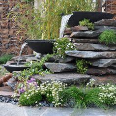 Gestapelde Natuurstenen Muren maken met vlakke Flagstones! Foto's Flagstone, Stepping Stones, Pond, Landscape, Caravan, Outdoor Decor, Plants, Ornament, Type