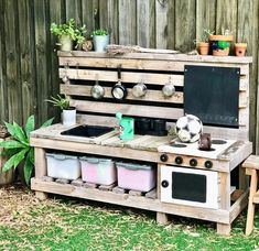 backyard designs – Gardening Ideas, Tips & Techniques Outdoor Play Kitchen, Mud Kitchen For Kids, Kids Outdoor Play, Outdoor Play Spaces, Outdoor Fun, Kids Backyard Playground, Natural Playground, Backyard For Kids, Backyard Games