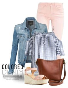"""""""Spring Trend: Colored Denim 3403"""" by boxthoughts ❤ liked on Polyvore featuring xO Design, LE3NO, Velvet, Frye, Qupid and coloredjeans"""