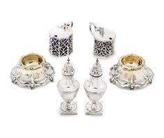 A pair of Victorian parcel-gilt silver salts by Charles & George Fox, London 1847 Charles Fox, Salts, Auction, Victorian, London, Silver, London England, Salt, Money