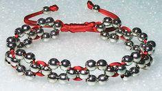 Como hacer una pulseras de hilo facil con cuentas o perlas formando flor...