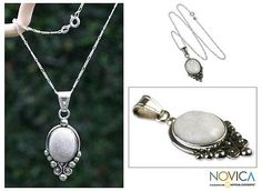 Love this. Want this. Need this. Sterling Silver Pendant Jade Necklace - Praise Love | NOVICA