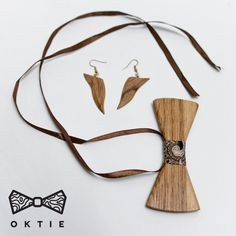 OKTIE Woman hand made wood bow tie earrings pendant Brown #OKTIE