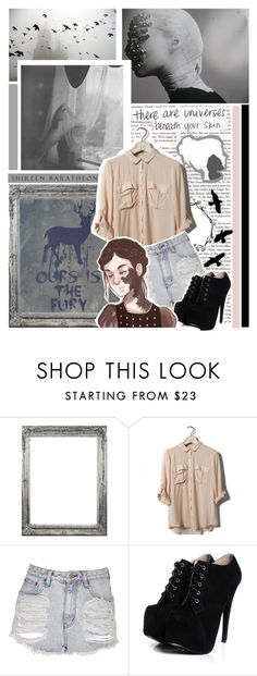 """""""Beneath your skin"""" by conceptualdreamer ❤ liked on Polyvore featuring Pull&Bear, Neon Hart, Boohoo, a song of ice and fire, high waisted shorts, house baratheon, shireen baratheon, tops, game of thrones and asoiaf"""