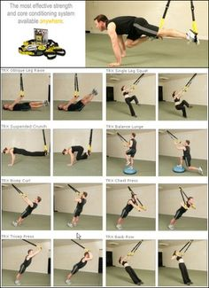 8 ejercicios para trx:  -Oblique leg -Single leg squat -Suspended Crunch -Balance Lunge -Biceps curl -Chest press -Triceps Curl -Back Row