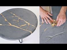 How to make a concrete coffee table with gold leaf KINTSUGI techniques to fix cracks. Table Beton, Concrete Coffee Table, Diy Coffee Table, Modern Coffee Tables, Diy Table Top, Wood Table, Concrete Crafts, Concrete Art, Concrete Projects
