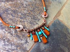 Special Order for Ilene Only , Artisan Necklace, Leather, copper, turquoise, picasso beads