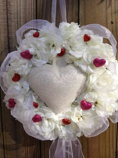 SALE  Romantic White Roses and Heart Wreath by DreamCharmDesigns, $75.00