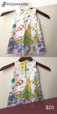 Dr.Seuss Oh The Places We'll Go Dress (12M) New with tags dress by Dr. Seuss. Tag says 2 piece---missing diaper cover :( Silver zipper on back. My daughter is still crawling and white is a big No for us right now :( No trades or modeling. Dr. Seuss Dresses Casual