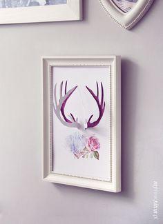 My Pink Plum!: DIY Poroże na ścianę lub do ramki– 2 wzory do druku