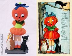 My finished Vintage Halloween piece and the inspiration card.  SassyPackRatStudios