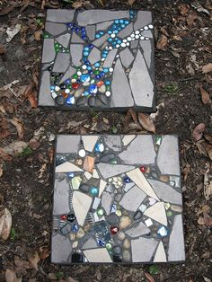 Stepping Stones - lay design on bottom, cement on top, so smart,