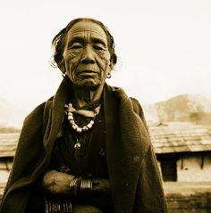 Portrait, Nepal  Portrait of elderly woman.