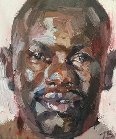 """Tim Benson, """"Benedict, Isolation Unit, Connaught Hospital, Freetown, Sierra Leone,"""" oil on board, 12x10 inches"""