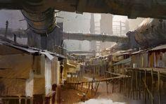 "Shanty town ""An expansive shanty town thrives with activity — THE SPRAWL Environment Concept Art, Environment Design, Jaime Jones, Cg Artist, Matte Painting, Science Fiction Art, Fantasy Landscape, Fantasy Art, Slums"