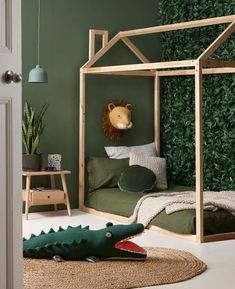 Baby Room Ideas 38913 children's room deco jungle trophy lion sage green paint h. - Baby Room Ideas 38913 children's room deco jungle trophy lion sage green paint hut bed in little -