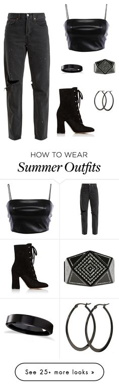 """"" by taylorharvey09 on Polyvore featuring RE/DONE, Gianvito Rossi, Allurez, Chanel and allblackoutfit"