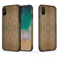 ROCK For iPhone X Case Cover For iPhone 8 Plus Case Wood Wooden Grain + Soft Flexible TPU TPE Hybrid Cover Protective Shield