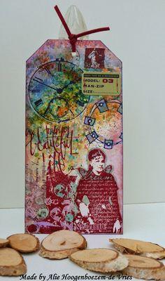 Brusho, witte gel pen, diverse kleuren Stazon, Stampinback karton, washi...