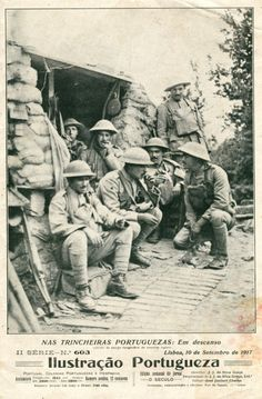 Portuguese Soldiers resting at the trenches - France 1917
