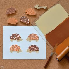 Hedgehogs Block Print by Andrea Lauren