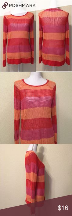 """525 America Coral Combo Knit Sweater 525 America Coral Combo Knit Sweater.  Size XL.  Excellent like-new condition.  Ribbed cuffs and trim.  Side hook & zipper.  Length shoulder to hem: 28"""".  Bust: 40"""".  Waist: 38.  Bottom of sweater: 40"""" around.  Sleeve length: 25"""".  Cuff width: 4"""".  100% rayon.  Machine wash cold.      Love it but not the price - I'm open to (reasonable) offers or consider bundling 2 or more items for an additional 15% off and combined shipping!      Check out my reviews…"""