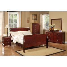 Louis Philippe II Sleigh Bed - Cherry | DCG Stores