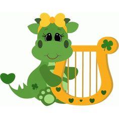 Silhouette Design Store: st patricks dragon w harp girl