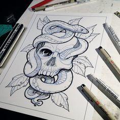 Skull and Snake- Lineart by JakeMorrison