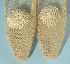 1825, needleworked bedroom slippers with satin rosettes, Museum of the City of New York