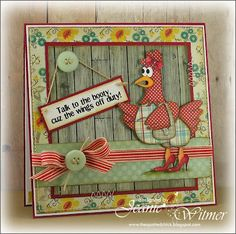 It's time for another Recipe Swap with the Catered Crop , and this week's featured ingredient is the color RED . Hand Made Greeting Cards, Scrapbook Cards, Scrapbooking Ideas, Scrapbook Layouts, Chickens And Roosters, Cricut Cards, Bird Cards, Get Well Cards, Animal Cards