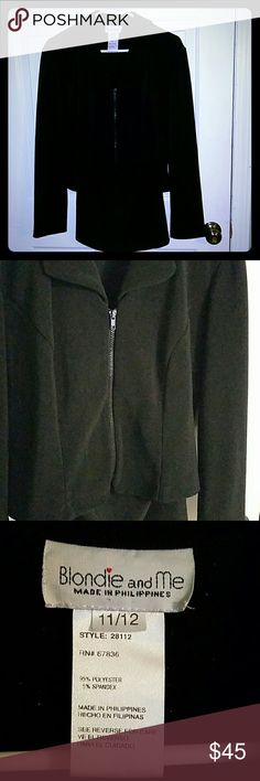 2 piece miniskirt suit Black 2 piece with zip jacket and mini skirt. Size 11/12. Has minor pilling that's easily removed with a sweater shaver or lint roller. Blondie and Me Other