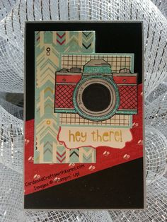 Tall & Skinny card, Stampin Up, Snapshot & Just Sayin stamp set, Flashback DSP, card for any occasion. Camera Cards, Pallet Painting, Embellishments, Stampin Up, Birthday Cards, Projects To Try, Card Making, Greeting Cards, Paper Crafts